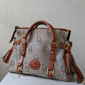 Medium satchel purse coated cotton signature logo
